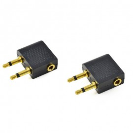 2x 3.5mm Airplane/Airline Travel Headphone Earphone Jack Audio Adapter