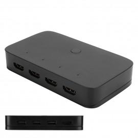 4-Port KVM Splitter USB HDMI KVM Switcher Box For Keyboard Mouse Monitor PC Sharing