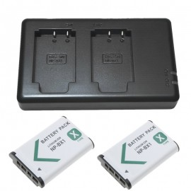 2x Replacement Battery + USB Dual Charger for Sony Action Cam HDR-AS30 Camera