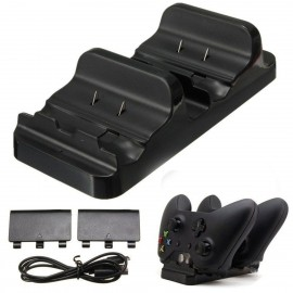 Xbox One Dual Controller Charger Dock Station Charging Stand and 2 Rechargeable Battery