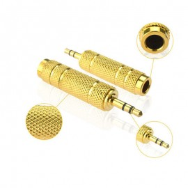2x AV Guitar Mic 6.5mm Female to 3.5mm Male Stereo Audio Headphone Adapter