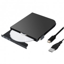USB & TYPE-C USB-C External DVD-RW CD DVD Drive Burner ReWriter Player for Win/10/8/7 Mac OS Laptop Desktop