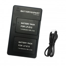 2 Rechargeable Batteries and External USB Dual Battery Charger for Canon EOS 100D Camera