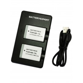 2 Rechargeable Batteries and External USB Dual Battery Charger for Canon PowerShot G1 X Mark III Camera