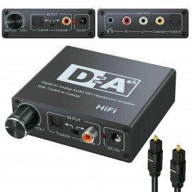 DAC Hi-Fi Digital Optical Coaxial Toslink to Analog RCA 3.5mm Audio Adapter Converter for DVD PS3 Home Stereo Amplifier EarPhones TV PC